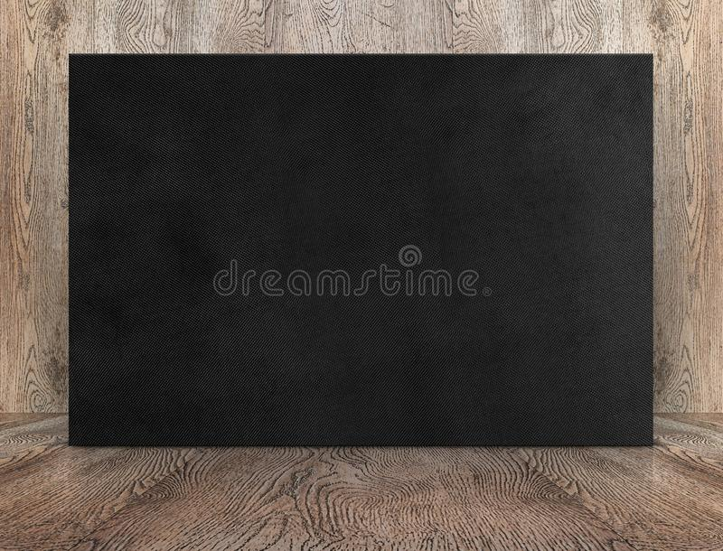 Blank banner black canvas poster leaning at wood wall on wooden. Floor in perspective room,Business mock up presentation.Template display of design or content stock photo