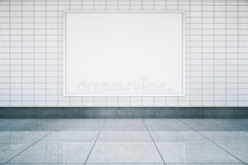 Blank banner in metro interior vector illustration