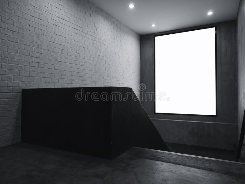 Lighting Basement Washroom Stairs: Blank Banner Mock Up Light Box Sign Indoor With Stairs