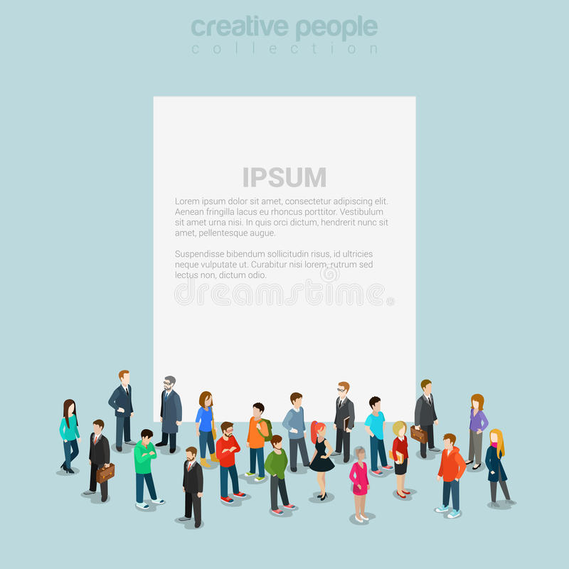 Blank banner template crowd micro people flat 3d web isometric royalty free illustration