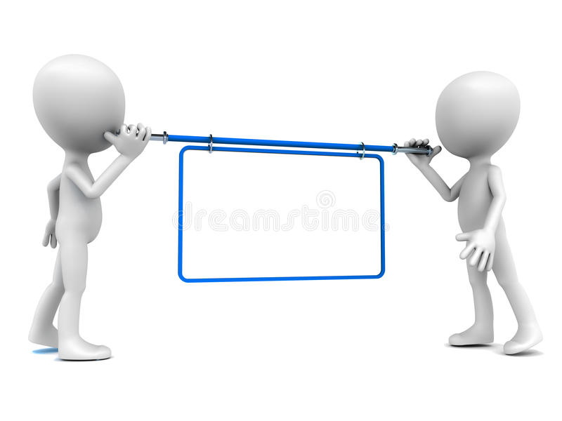 Blank banner white copy space. A blank white banner with copy space held up by two little 3d men against white background for your own text vector illustration