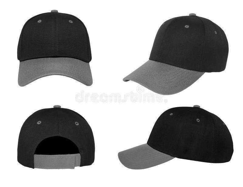Blank baseball cap 4 view color black/grey stock photo