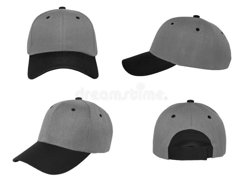 Blank baseball cap 4 view color grey/black stock photo