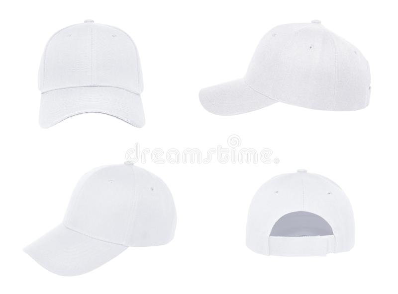 Blank baseball cap 4 view color white stock images