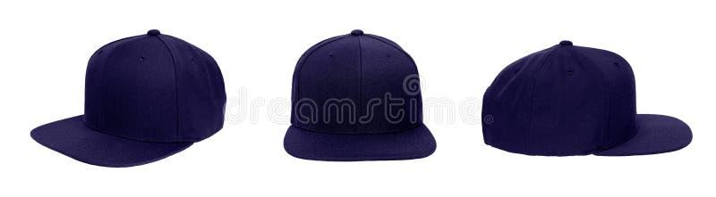 Blank baseball snap back cap color navy royalty free stock images
