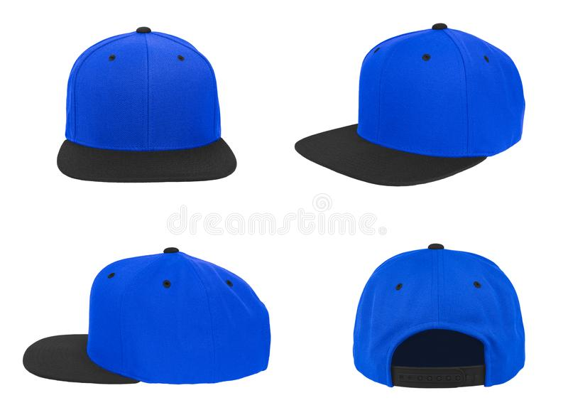 Blank baseball snap back cap two tone color black/blue royalty free stock photo