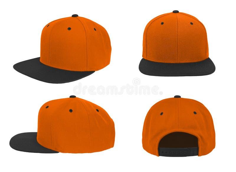 Blank baseball snap back cap two tone color orange/black stock images