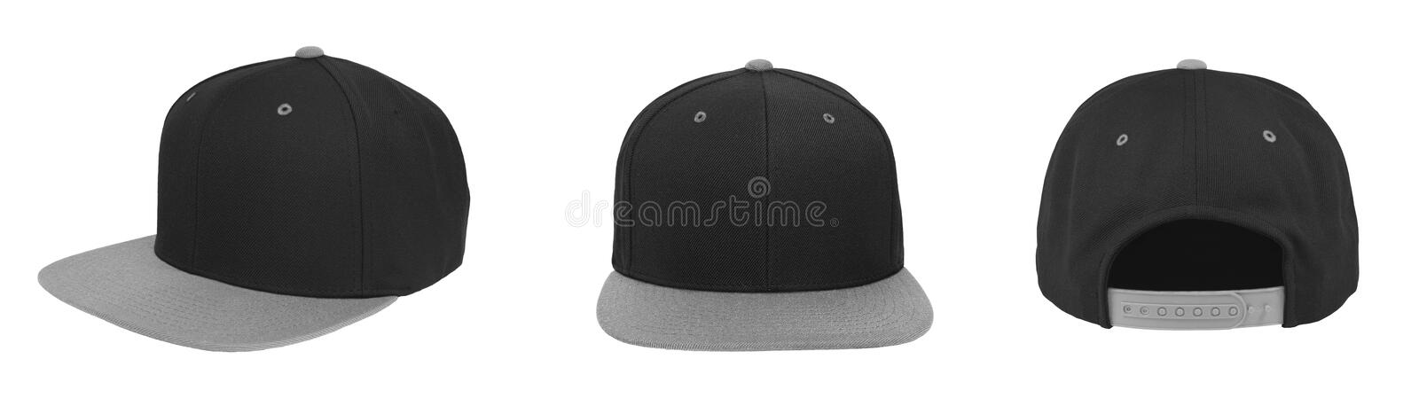 Blank baseball snapback cap two tone color black/gray. On white background royalty free stock photos