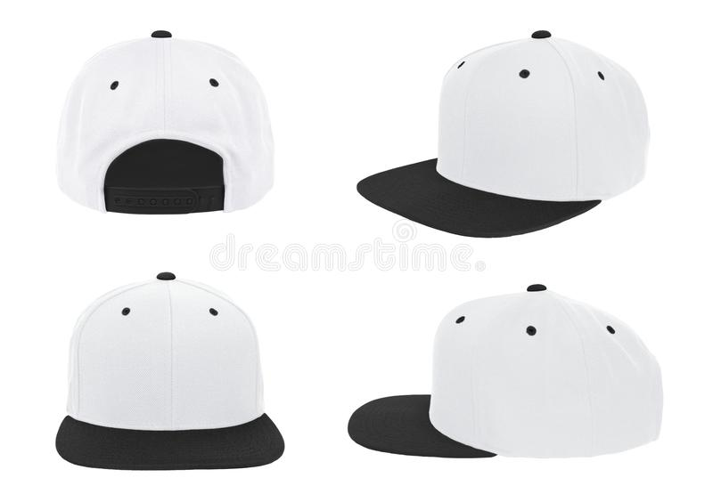 Blank baseball snapback cap two tone color white/black. On white background stock photo