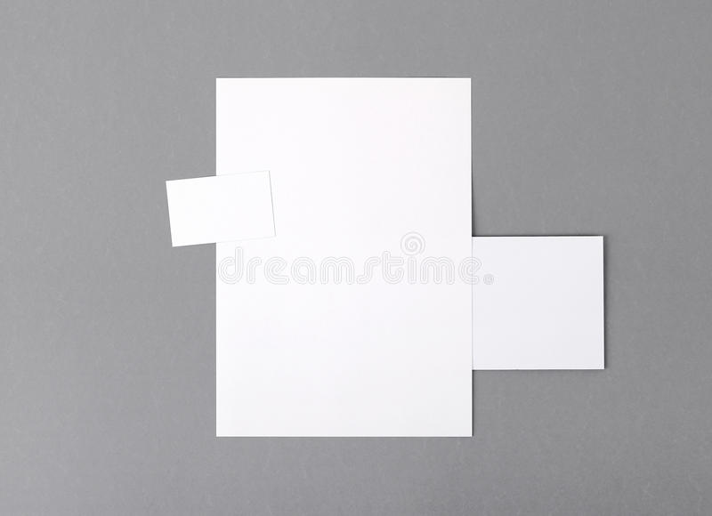Blank basic stationery. Letterhead flat, business card, envelope stock images