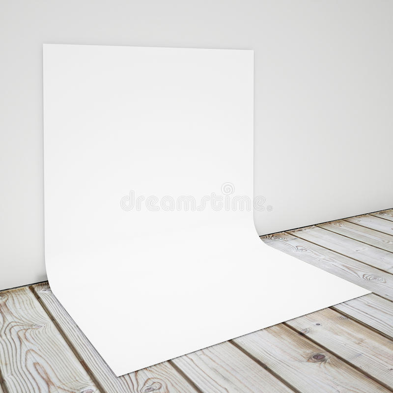 Blank bent poster on the concrete wall and the floor, mock up background royalty free illustration
