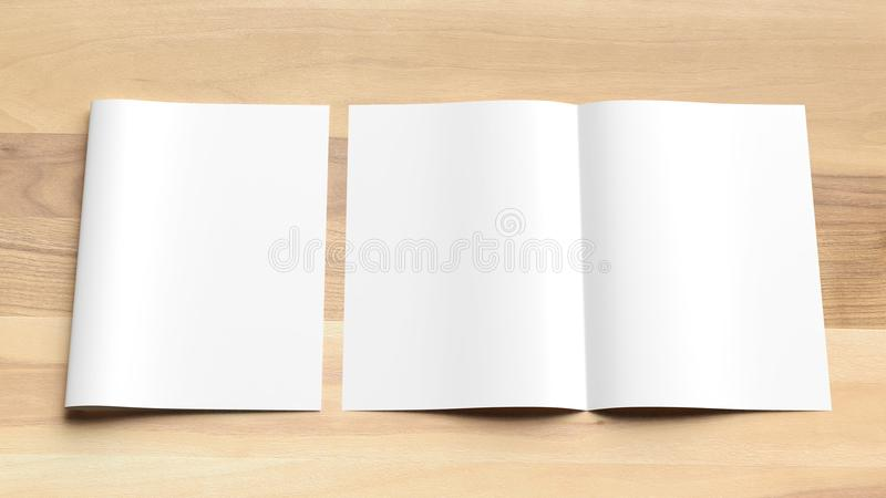 Blank Bi fold A4 size brochure mock up on wooden background. 3D royalty free stock image