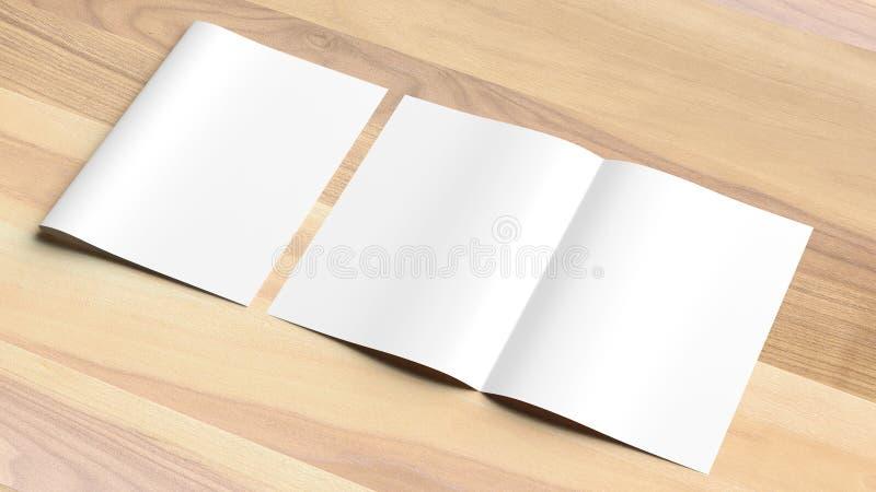 Blank Bi fold A4 size brochure mock up on wooden background. 3D. Illustrating stock image