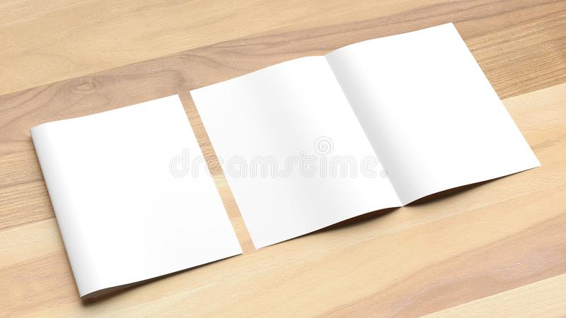 Blank Bi fold A4 size brochure mock up on wooden background. 3D. Illustrating royalty free stock photo