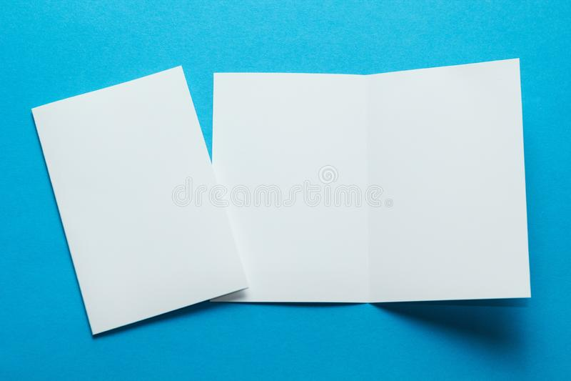 Blank Bi-Fold Square Brochure, Leaflet, Pamphlet, Greeting Card Mockup Template on Isolated Background stock photo