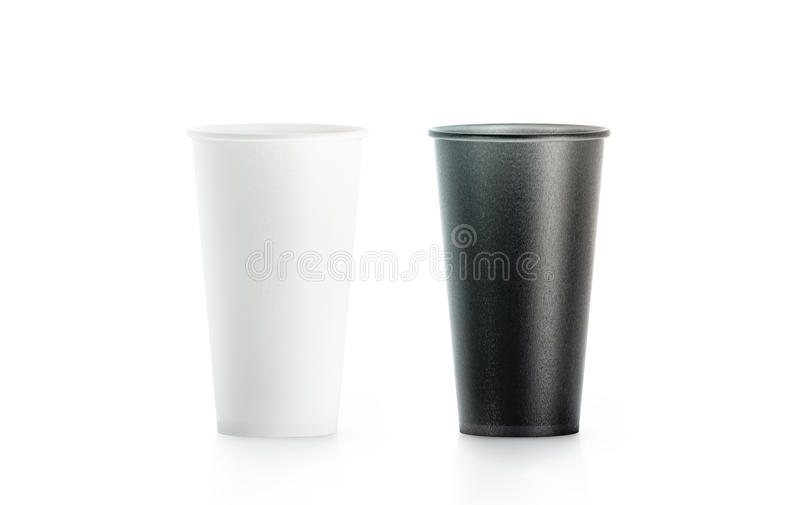 Blank big black and white disposable paper cup mock up royalty free stock photos