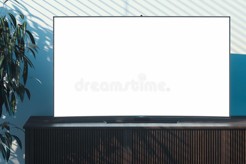 Blank big tv set with copy space on wooden cupboard in modern interior. 3d rendering. Blank big white tv set with copy space on wooden cupboard in modern stock illustration