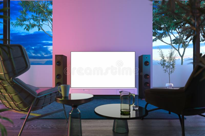 Blank big white tv set with copy space on white cupboard onear windows with view on beautiful garden, 3d rendering. Modern house interior vector illustration
