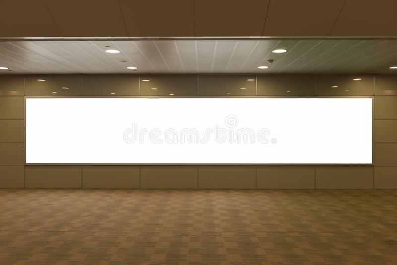 Blank billboard for advertising poster or blank billboard banner. On wall royalty free stock photography