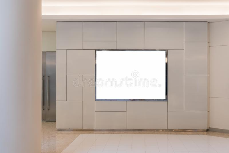 Blank billboard for advertising poster. Or blank billboard banner on wall stock photo