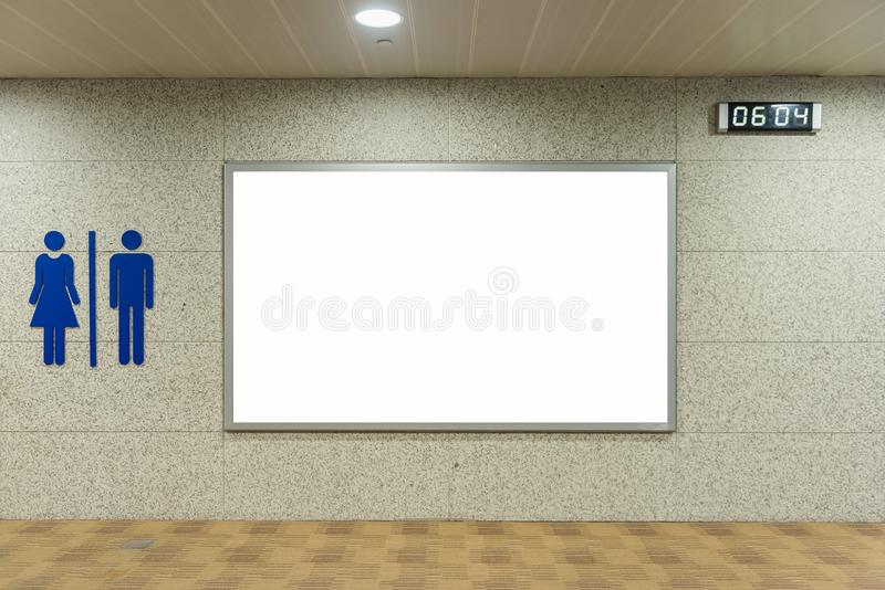 Blank billboard for advertising poster or blank billboard banner. On wall stock image
