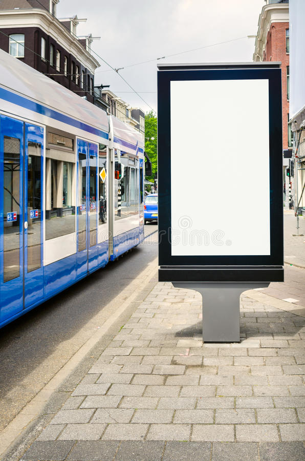 Blank Billboard along a Tramway royalty free stock images