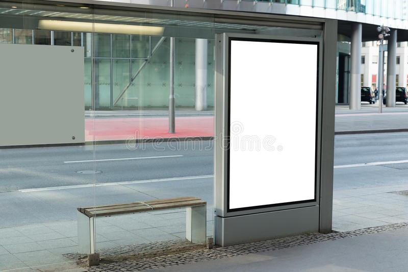 Blank billboard on bus stop. For Advertising In City royalty free stock photo