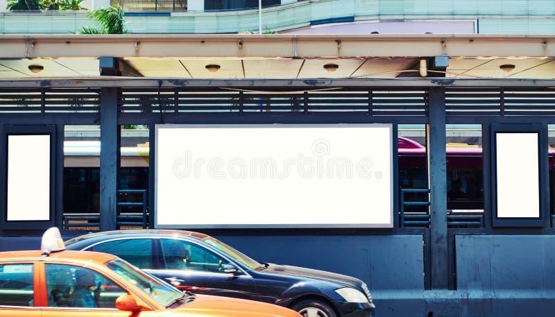 Blank billboard in street stock photo