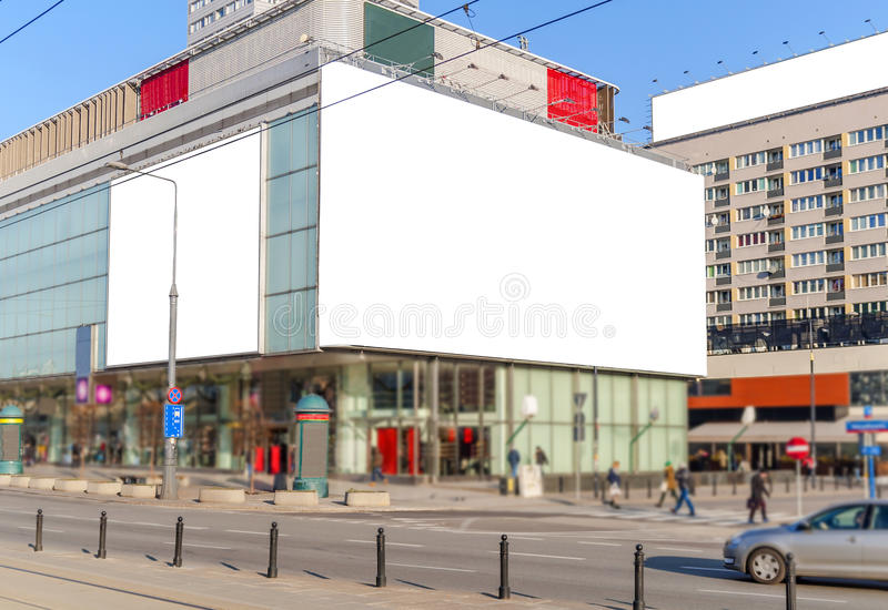 Blank billboard in the city for new advertisement stock image