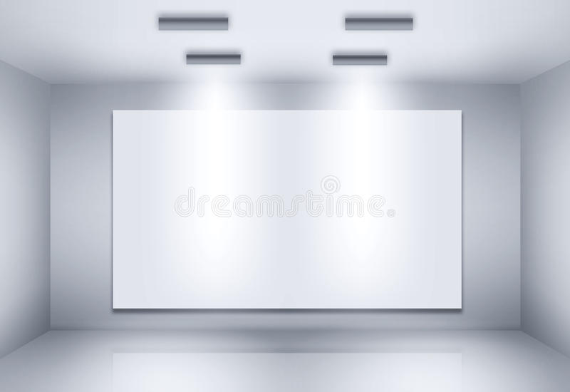 Blank billboard on empty wall. Illustration of blank billboard on empty wall with lights vector illustration