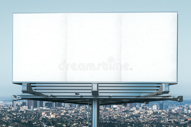 Blank billboard at megapolis city view backgound. Mock up stock photo