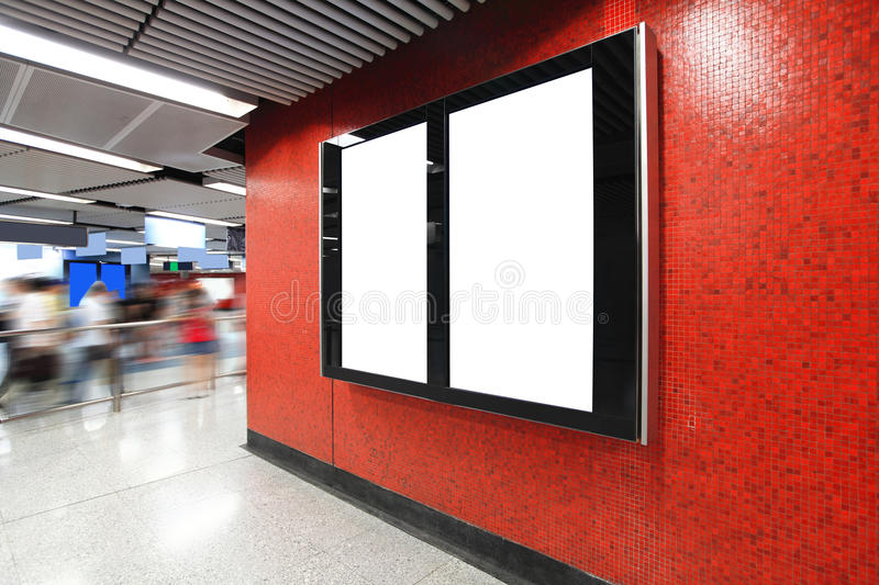 Blank Billboard in metro subway station. Shot in asia, hong kong, great for your copy space royalty free stock photography