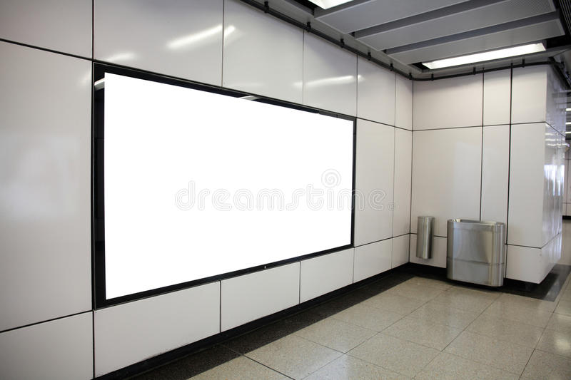 Blank Billboard in metro subway station. Shot in asia, hong kong, great for your copy space royalty free stock images