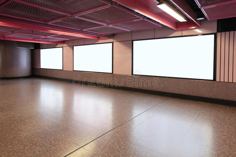 Blank Billboard in metro subway station. Shot in asia, hong kong, great for your copy space stock photography