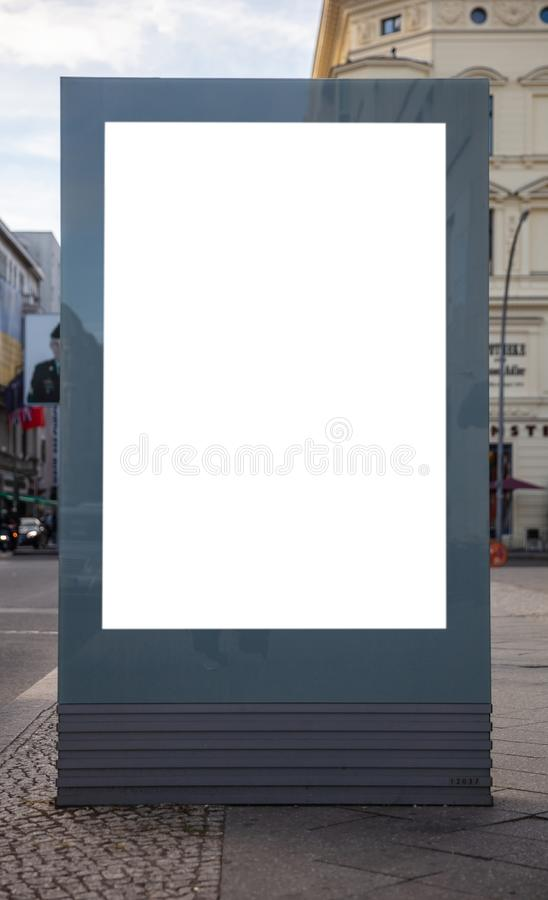 Blank billboard mockup for advertising, City street background. Blank billboard mockup for advertising on the pavement, City street background royalty free stock images