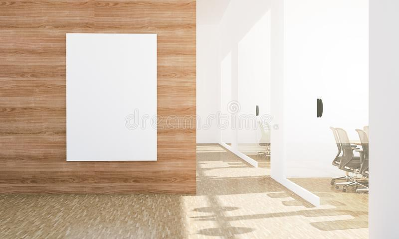 Blank billboard mockup at office headquarters with conference rooms. Blank billboard mockup at office 3d rendering stock illustration