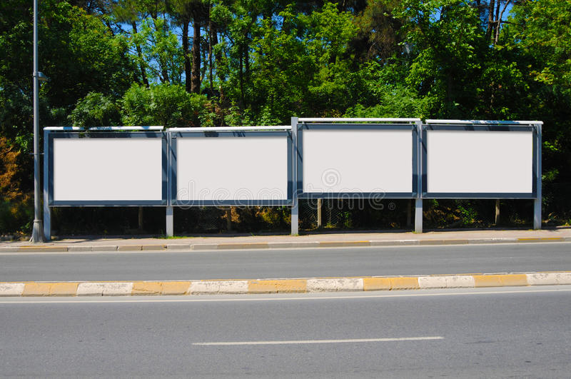 Blank billboard outdoors, outdoor advertising royalty free stock images