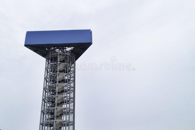 Blank billboard over blue sky for outdoor advertisement, trade shows, or promotional poster. Blank billboard over blue sky for outdoor advertisement, trade stock photo