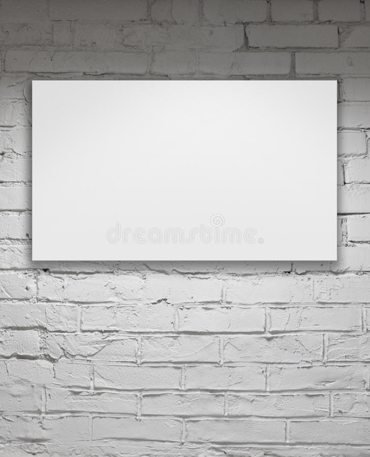 Blank billboard over white brick wall. Image of blank billboard over white brick wall royalty free stock image