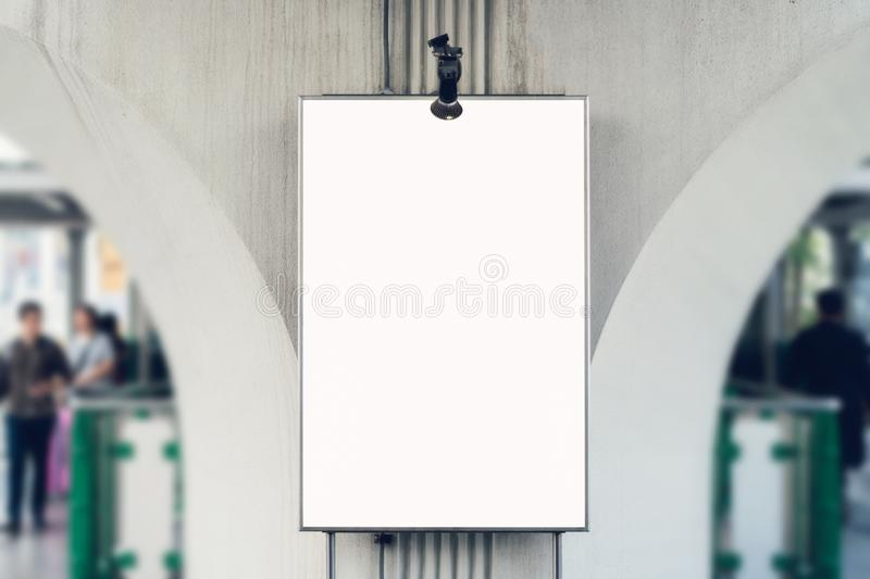 Blank billboard poster in the department store, with copy space for advertising message. Blank billboard poster in the department store, with copy space for royalty free stock image
