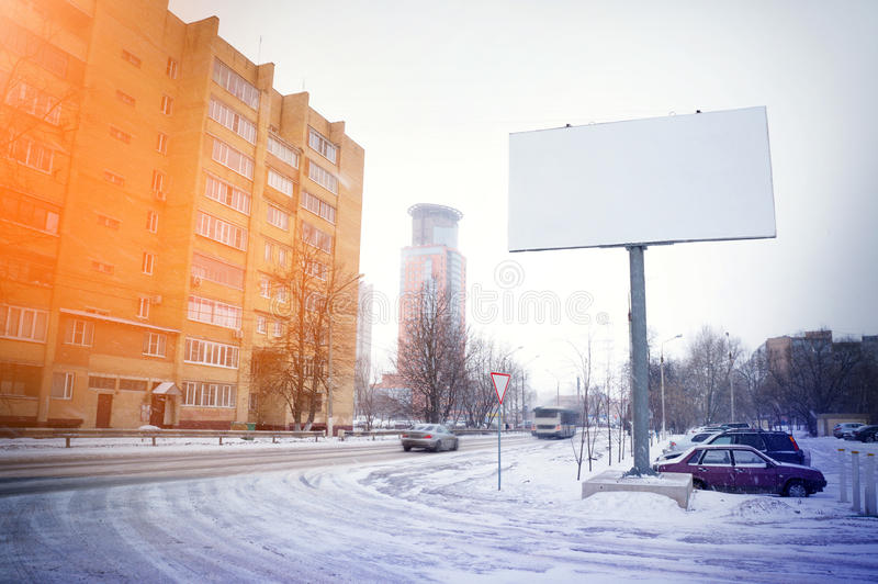 Blank billboard, poster, mock up, at street, for your logo, pr. Oduct, design royalty free stock images
