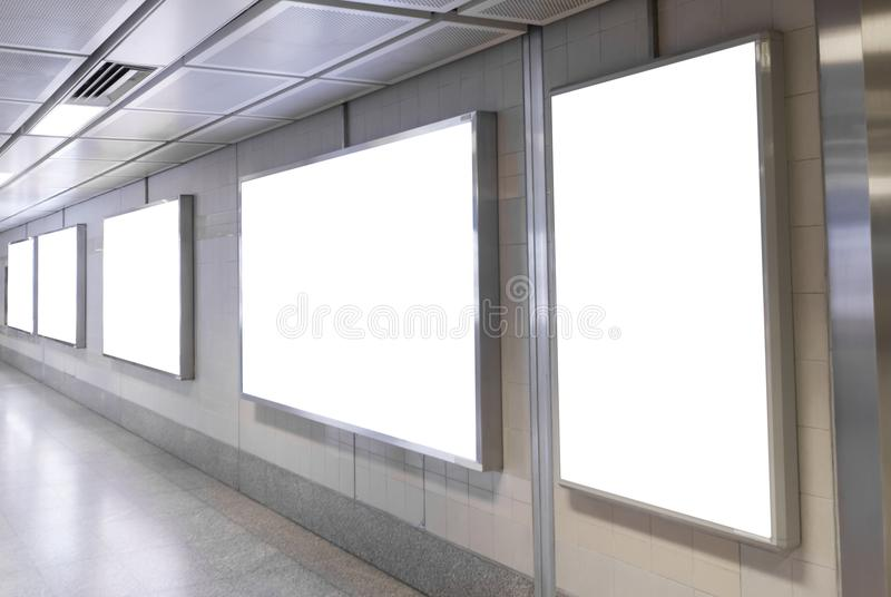 Blank billboard posters in the subway station for advertising royalty free stock photos