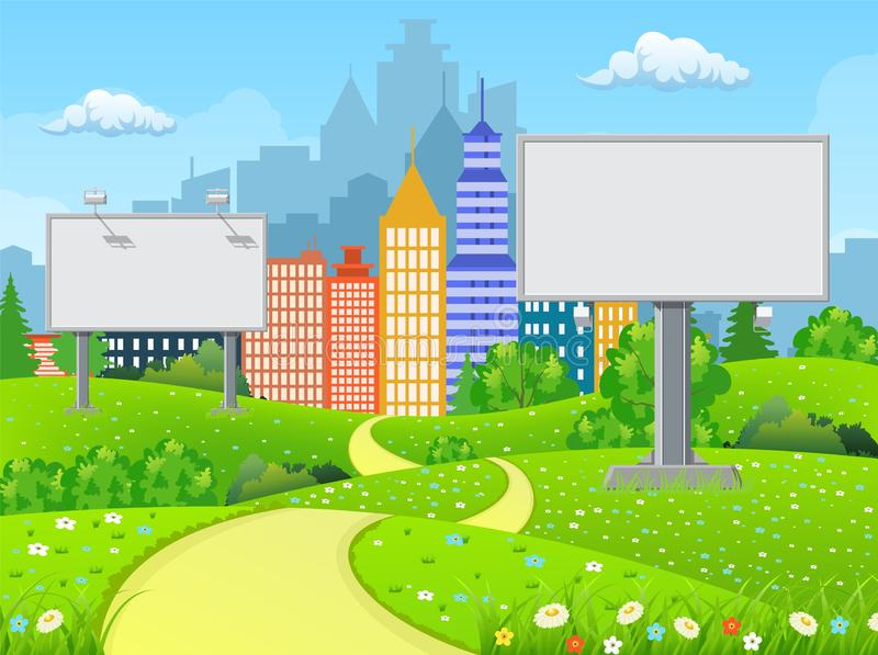 Blank billboard and roadside trees at the road. Empty urban big board or billboard with lamp. Blank mockup. Marketing and advertisement. Cityscape background vector illustration