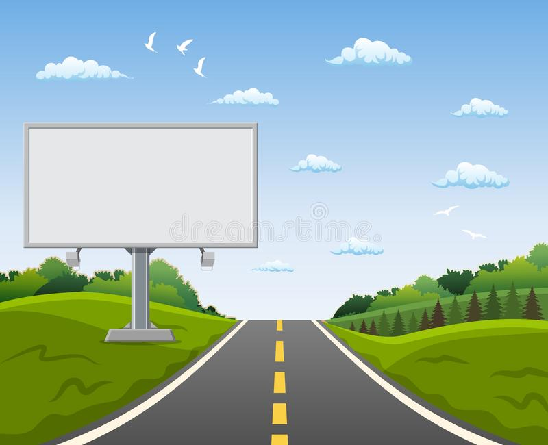 Blank billboard and roadside trees at the road. Vector illustration in flat style vector illustration