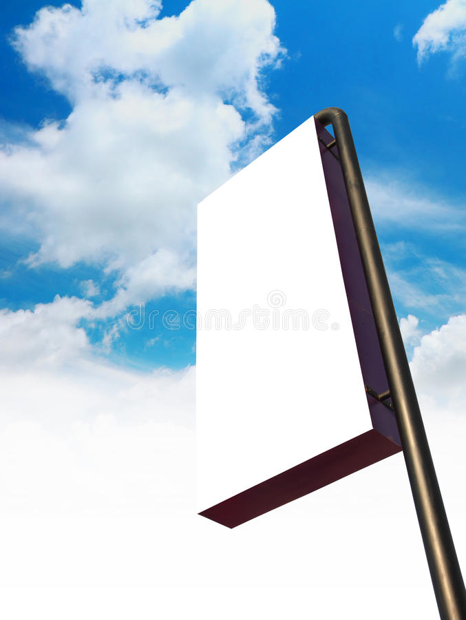 Blank billboard sign. With cloud and blue sky royalty free stock photo