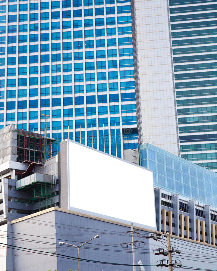 Blank billboard of skyscraper for advertising royalty free stock photography