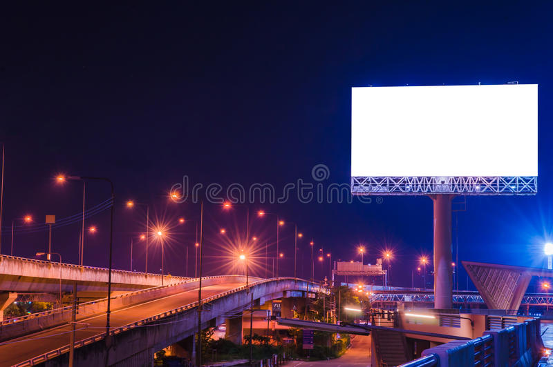 Blank billboard at twilight time for advertisement stock photo