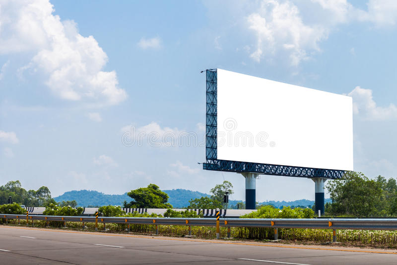 Blank billboards for Advertising on the highway. Blank billboards for Advertising with blue sky on the highway stock photography