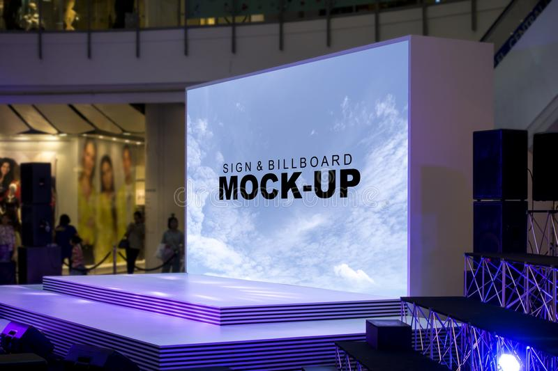 Blank billboards on stage located in shopping mall stock photo