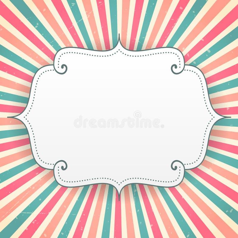 Blank birthday greeting card on stripes background. Illustration royalty free illustration